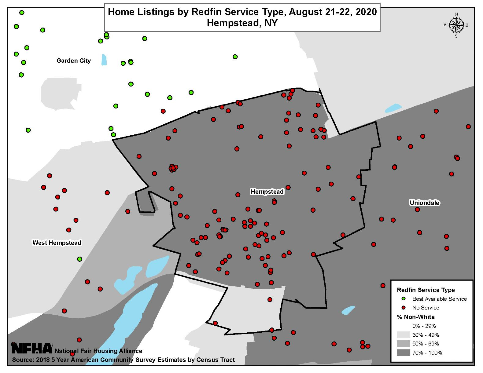 Home Listings by Redfin Service Type, Hempsted, NY August 21-22, 2020