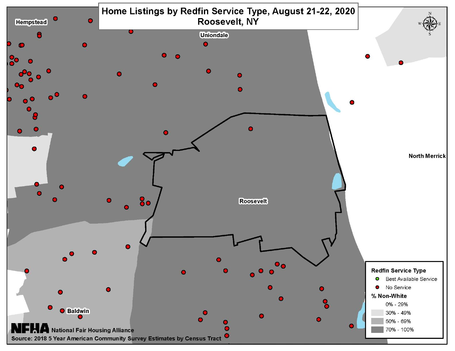 Home Listings by Redfin Service Type, Roosevelt, NY August 21-22, 2020